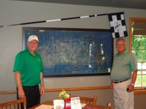 Langford Shield partner Rory Spears (left) and I got a look at the original course design when Langford's Pub opened.