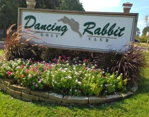 Dancing Rabbit welcome sign