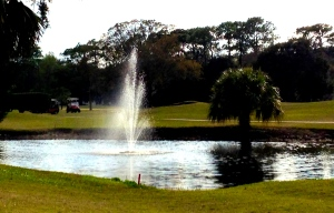 A fountain in the pond beside the No. 15 green shows Riviera has changed with the times.