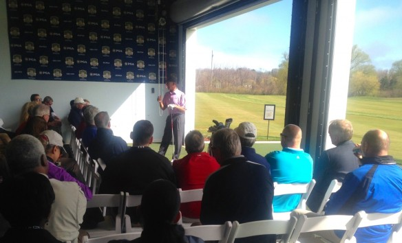 Champions Tour player Chip Beck drew a big crowd for a swing clinic before Harbor Shores' course changes were unveiled.